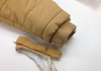 ダウンジャケットの袖丈つめ(リブ付き)